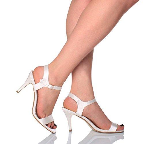 Donna alto tallone partito caviglia cinghietti cinturino scarpe sandali numero Raso Avorio