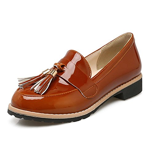 dca1d6f3711 DecoStain Womens Patent Leather Flat Loafers Casual Ladies Fringe Tassel  Work School Shoes Size