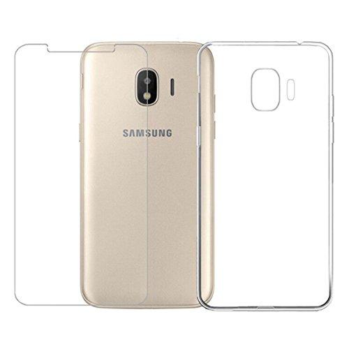 LJSM Hülle für Samsung Galaxy Grand Prime Pro 2018 / Samsung Galaxy J2 Pro 2018 Transparent + Panzerglas Displayschutzfolie - Weich Silikon Schutzhülle Flexibel TPU Tasche Case Cover Handyhülle (5.0