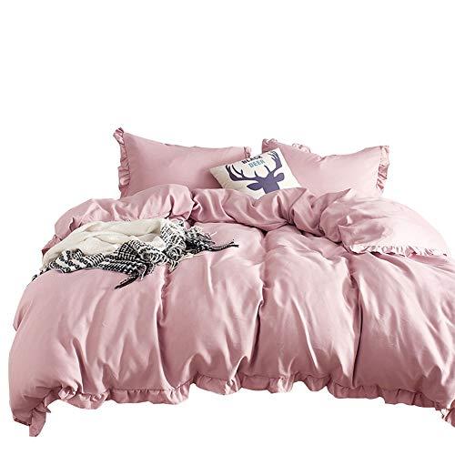 Luofanfei Rosa Bettwäsche King Size 220 x 230 cm 3 Teilig Uni Pink Bettbezug Rüschen Einfarbig Koralle Microfaser Pflegeleicht -
