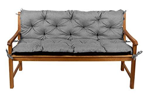 Bankauflage Bankkissen Sitzkissen + Rückenlehne für Hollywoodschaukel Gartenpolster (110x50x50, 3 Grau)