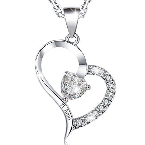 Marenja-regali san valentino collana donna placcato oro bianco-pendente cristallo cuore incisione ti amo e scatola con rosa stabilizzata offerta-gioielli originali con cristalli