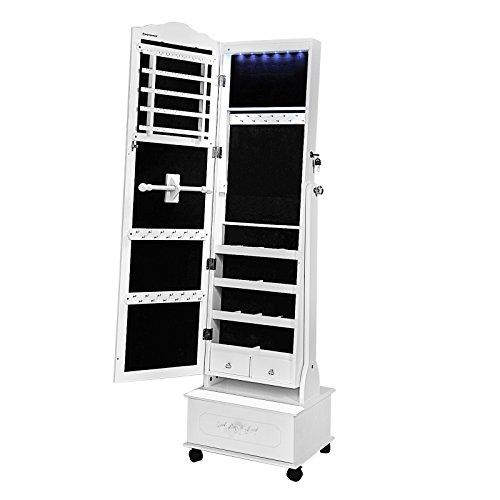Songmics-Espejo-joyero-Armario-con-LED-Organizador-de-joyeras-Blanco-JBC61W