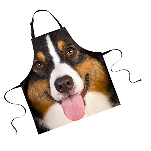 MagiDeal Schürze, Küchenschürze, Kochschürze, Grillschürze - Polyester, Tier Muster - Hund