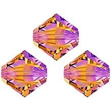 Perline Swarovski, 5328,bicono, cono doppio, 6mm, 20pezzi, cristallo, giallo, nero, 105 astral pink