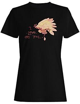 Amo A Mi Jefe Principal Indio De La Tribu 2 camiseta de las mujeres k733f