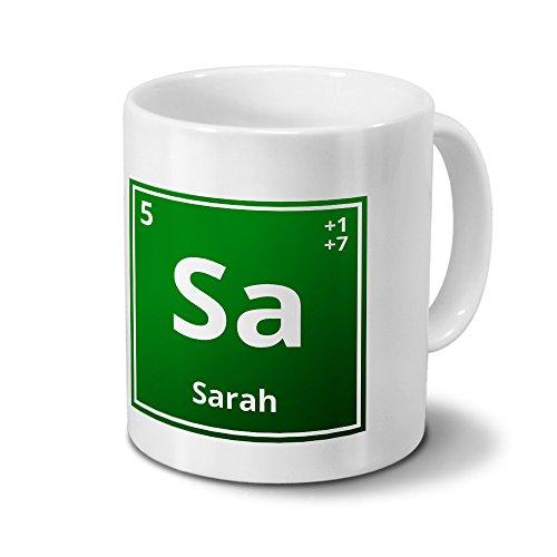 Tasse mit Namen Sarah als Element-Symbol des Perioden Systems - grün - Namenstasse, Kaffeebecher, Mug, Becher, Kaffeetasse 4