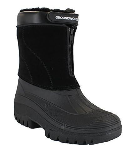 GroundWork LS88 Mens Mucker Stable Yard Waterproof Winter Snow Zip Boots Wellies UK 10 Black