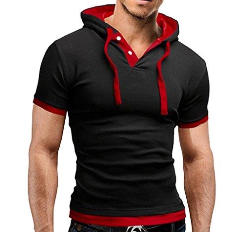 WSLCN Herren Sommer Kapuzenshirt kurzarm Poloshirt mit Kapuze Schwarz / Rote Kapuze