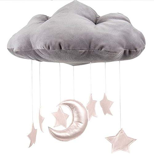 Puddingt® Baby Decke Mobile Hängende Wolke Dekorationen Mond und Sterne Girlande für Kinderzimmer Baby-Dusche,White