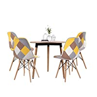 Joolihome Dining Table and Patchwork Chair Set of 4, White Round table Patchwork Eiffel Chair,Fabric Dining Chair Home Office with Natural Wood Leg (wood round table+ yellow chair)