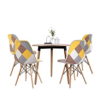Joolihome Dining Table Patchwork Chair Set of 4, Round Table Retro Eiffel Chair, Fabric Dining Chair Home Office with Natural Wood Leg (wood round table+ 4*yellow chair)