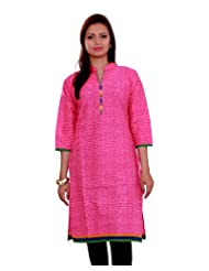 Adesa Women's Cotton Self Print Regular Fit Kurti - B00VHSFB6M