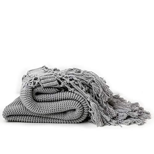 Handgestrickte Decken, Sofadecken, Foto Requisiten, Personalisierte Decke, Hohle Quaste Decken,Gray -