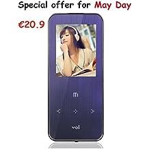 ONN Q9 MP3 Player FM Radio mit Mini hochwertigen und Sport Aufnahme 8GB MP3 Player(Purple)