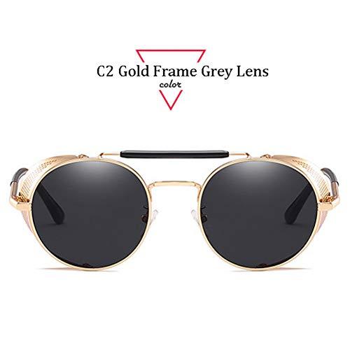 Kjwsbb Sonnenbrille Damen Herren Runde Sonnenbrille Designer Metallrahmen Sonnenbrille