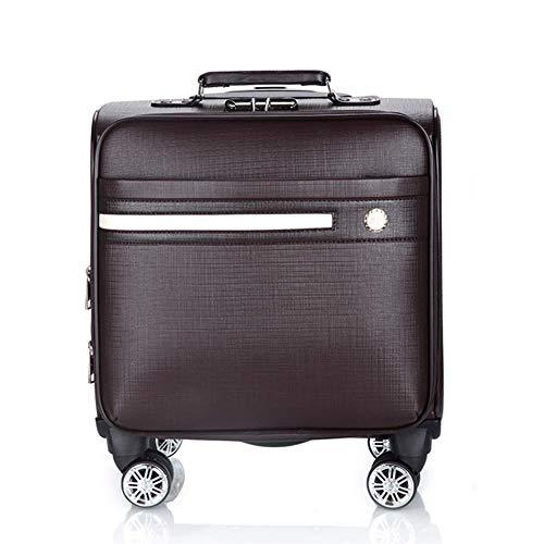 Business Case Trolley con scomparto laptop, Carry PU materiale impermeabile di viaggio su Cabin bagaglio a mano Valigia con 4 ruote (18 pollici)- Brown