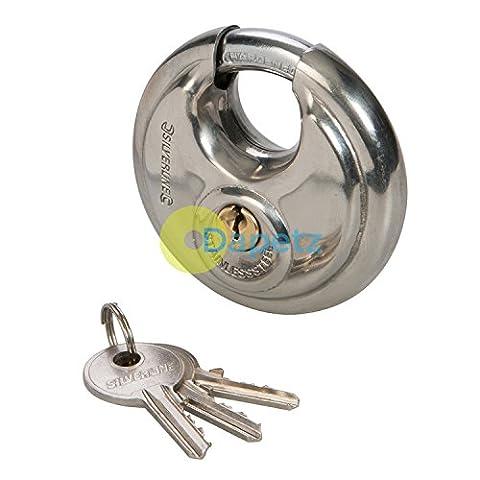 Dapetz ® Stainless Steel Security Disc Padlock 70mm - 3 Keys Hardened Steel Shackle