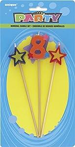 Unique Party Conjunto de 3 velas de cumpleaños con forma de estrella, número 8 34048