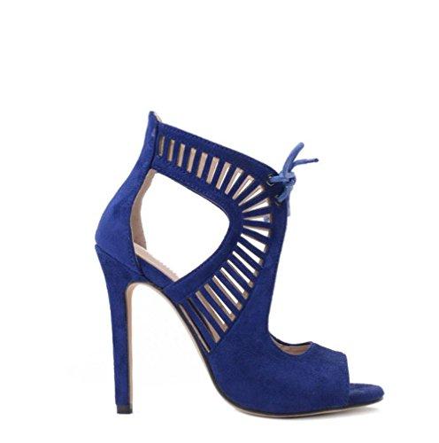 Best 4U® Sandalo da donna Summer Suede Décolleté con lacci e suola in gomma con lacci 11CM Scarpe con tacchi alti blu Black