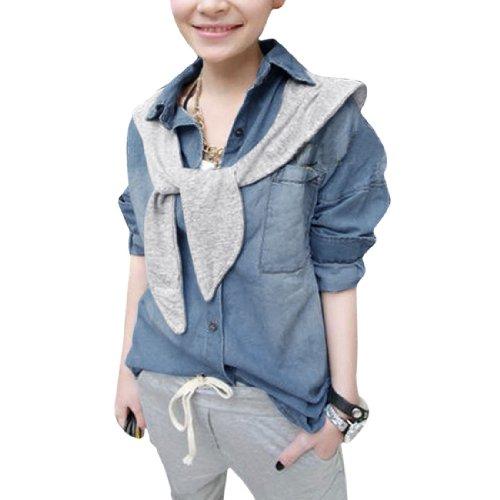 Femmes Poitrine Poches Boutons Front Manches Longues Chemise En Jeans Bleu S Bleu