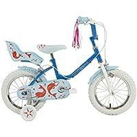 "Sunbeam Raleigh Mermaid Girls' Kids Bike Blue, 9"" inch steel frame, 1 speed front and rear caliper brakes high raised handlebars"