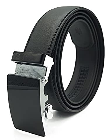 Echt-Ledergürtel Herren Automatik Gürtel mit Automatikschließe-3,5cm Breite Verschiedene Schnallen Muster Free Size (135cm(54), Echt Leder 05)