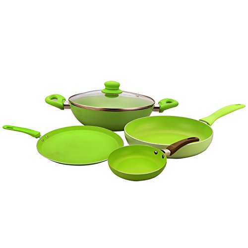 Wonderchef Induction Base Family Set with Free Mini Frying Pan, 4-Pieces, Green
