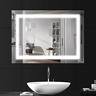ANSCHE 800 * 600mm LED Illuminated Bathroom Mirror Light, Make Up Dressing Wall Mounted Bedroom Explosion-proof Vanity Large Light Up Mirror with Lights Integrated Rectangular (4000k Netural White)