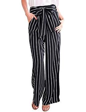 Minetom Mujeres Oficina Raya Pantalones Casual Moda Verano Otoño Harem Playa Pantalones De Pierna Ancha Pants...