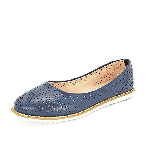 Frauen Casual MüßIggäNger Sommer Slip On Round Toe Komfortables Zuhause Solide Flache rutschfeste AushöHlen Damen Oxford Flache Schuhe