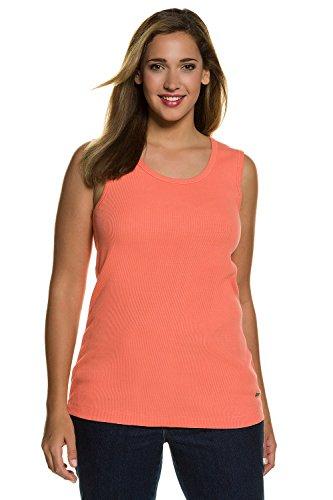 Ulla Popken Femme Grandes tailles | Débardeur sans manches Col rond Basique Stretch en Coton | 706270 orange clair