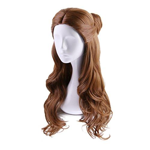 Frcolor Frauen Perücke Lange Welliges Haar Schönheit und Tier Prinzessin Belle Cosplay für Frauen Mädchen (braun) (Lange Lockige Perücke Cosplay)