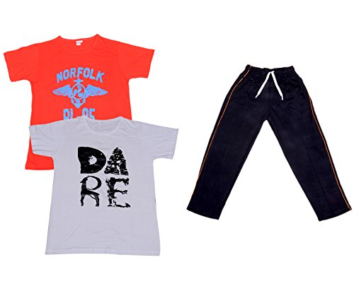 Indiweaves Boys Super Soft Cotton Lower/Track Pants and Half Sleeves Printed T-Shirts Combo (Pack of 1 Lower and 2 T-Shirts)-Red-