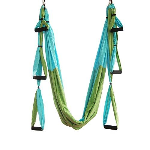 Junenoma Altalena Yoga Aerea Set - Altalena Amaca Yoga - Kit Trapeze Yoga + Cinghie di Estensione - Ampio Strumento di inversione Yoga Volante - Antigravity Soffitto Hanging Sling Yoga,Green
