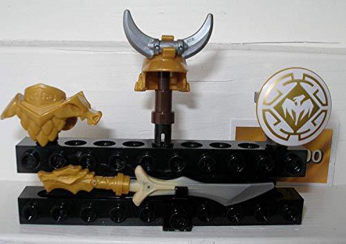 Ninjago 4 Elemente goldene Drachenrüstung Drachenmeister Drachenjäger Schild Schwert Helm Brustpanzer Waffen + Drachenposter + 1 Goldsticker
