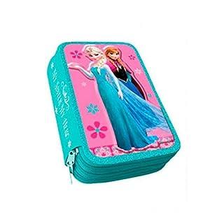 Trousse Triple Scolaire Disney Frozen Reine des neiges Garnie Plumier 45 pieces (crayons, feutres, ciseaux, gomme ...) Nouveauté