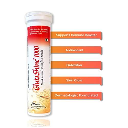 GlutaShine1000 2 in 1 Dermatologist Formulated L-Glutathione 500 mg + Vitamin C 1000 mg 30 Sugar Free Tablets (Orange Flavour Drink) Antioxidant, Supports Immune Booster, Detoxifier, Skin Lightning