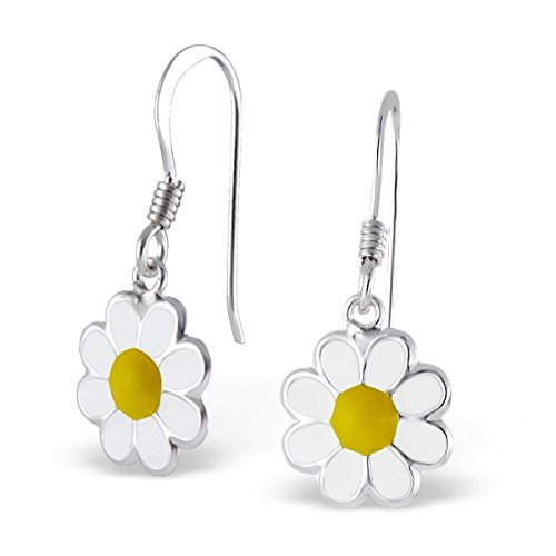 pair-of-small-sterling-silver-epoxy-white-and-yellow-flower-drop-earrings