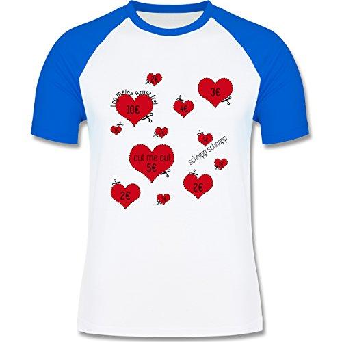 JGA Junggesellenabschied - Herzen ausschneiden JGA - zweifarbiges Baseballshirt für Männer Weiß/Royalblau