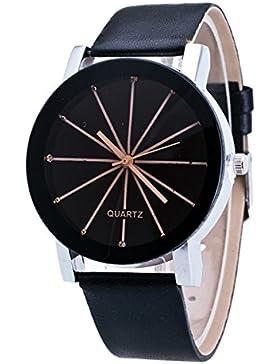 Mode Klassisch Damenuhren Herrenuhren Quarzuhr Pu Uhrenarmbänder Rund Schwarz Zifferblatt Armbanduhren Für Herren...