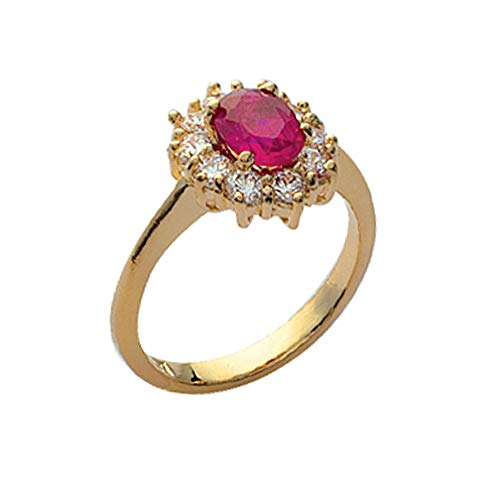 ISADY - Ada Gold Rubis - Damen Ring - 18 Karat (750) Gelbgold - Zirkonium Rot - T 50 (15.9)