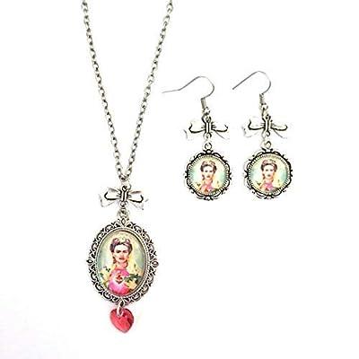 Parure Frida Kahlo - Collier et boucles d'oreilles cabochon en verre d'inspiration vintage avec coeur Swarovski