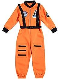 LUOEM Astronaut Jumpsuit Halloween Astronaut Costume Cosplay Disfraz para Baby Kids Boys - XL (Naranja)