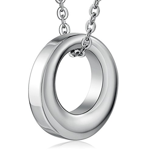 Daesar Edelstahl Gedenk Asche Andenken Hohl Kreis Urnen Anhänger Halskette Silber Memorial Halskette