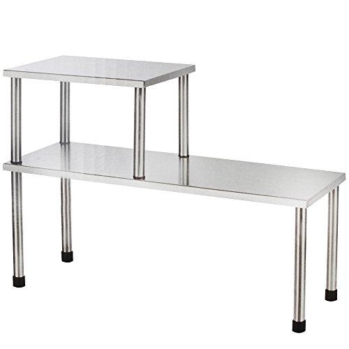 COM-FOUR étagère de cuisine à 2 niveaux en acier inoxydable avec pieds en caoutchouc...