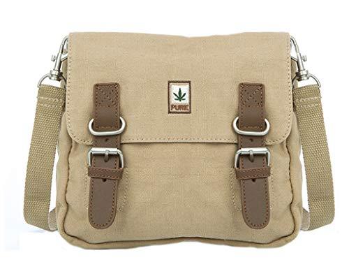 Hanf Messenger Tasche (PURE HF-0035 Hanf Baumwolle kombinierte Schultertasche und Gürteltasche H23 x B26 x T5, Camel)