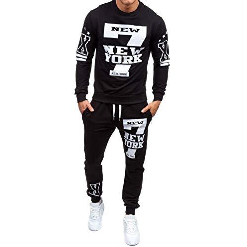 LANSKIRT Herren Herbst Winter gedruckt Sweatshirt Sportanzug Trainingsanzug - Top + Hosen Sets S-2XL