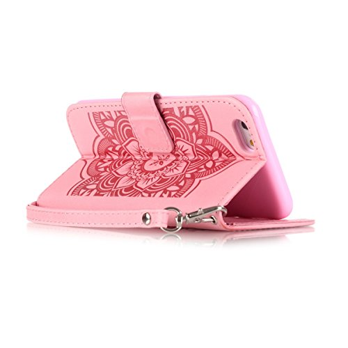 iPhone 6S Plus Coque, iPhone 6 Plus Coque, Lifeturt [ Violet Campanula ] Leather Case Wallet Flip Protective Cover Protector, Etui de Protection PU Cuir Portefeuille Coque Housse Case Cover Coquille C E02-Rose Campanula