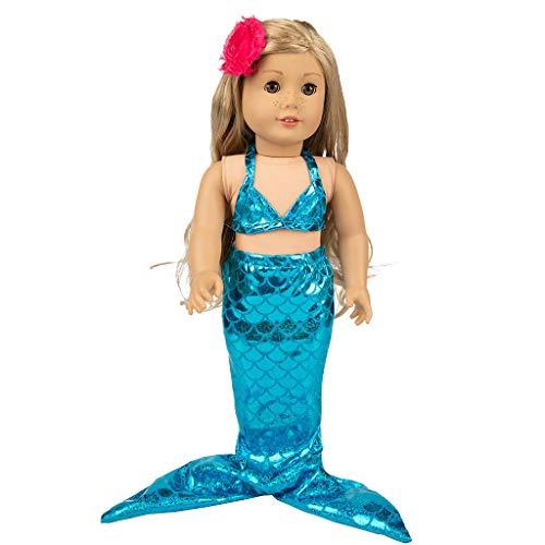 DingLong 18 Inch Doll Badeanzug Set Meerjungfrau Kostüme, Süße Mädchen Spielzeug für 18 Zoll Puppe Zubehör Spielzeug - Doll Kostüm Mädchen